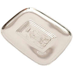 Diego Rivera Style Polished Silver Tray