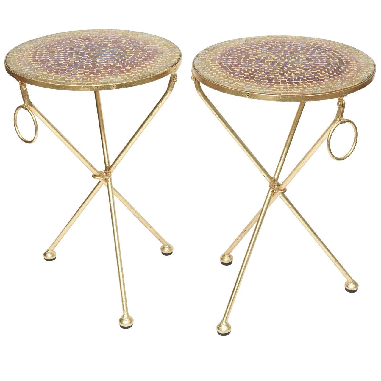 Pair of Italian Vintage Gold Leaf and Mosaic Glass Tripod Side Tables For Sale