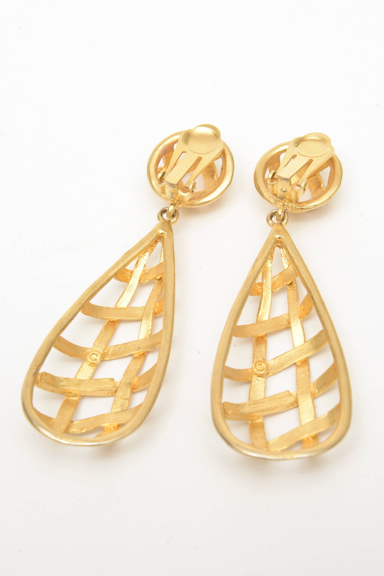 Pair of Gold Plated Criss Cross Cage Dangle Earrings For Sale 3