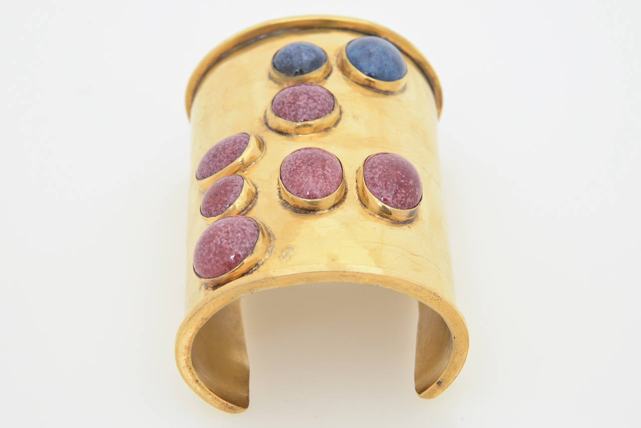 Modernist Signed Vintage Mary McFadden Handcrafted Wide Cuff with Stones  For Sale