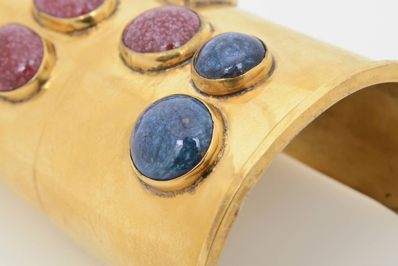 Signed Vintage Mary McFadden Handcrafted Wide Cuff with Stones  For Sale 2