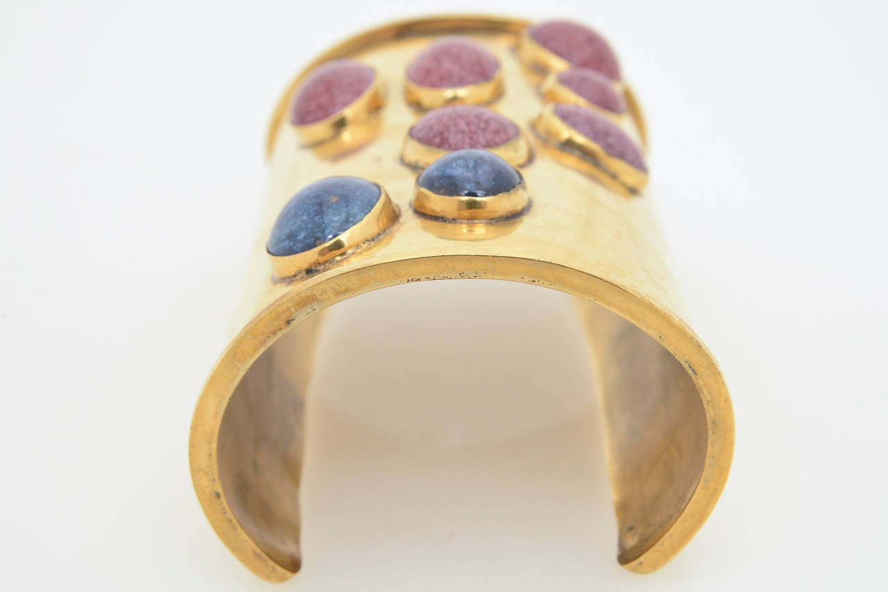 Signed Vintage Mary McFadden Handcrafted Wide Cuff with Stones  For Sale 3