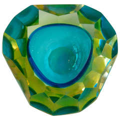 Stunning and Rare Italian Murano Faceted Sommerso Geode Glass Bowl
