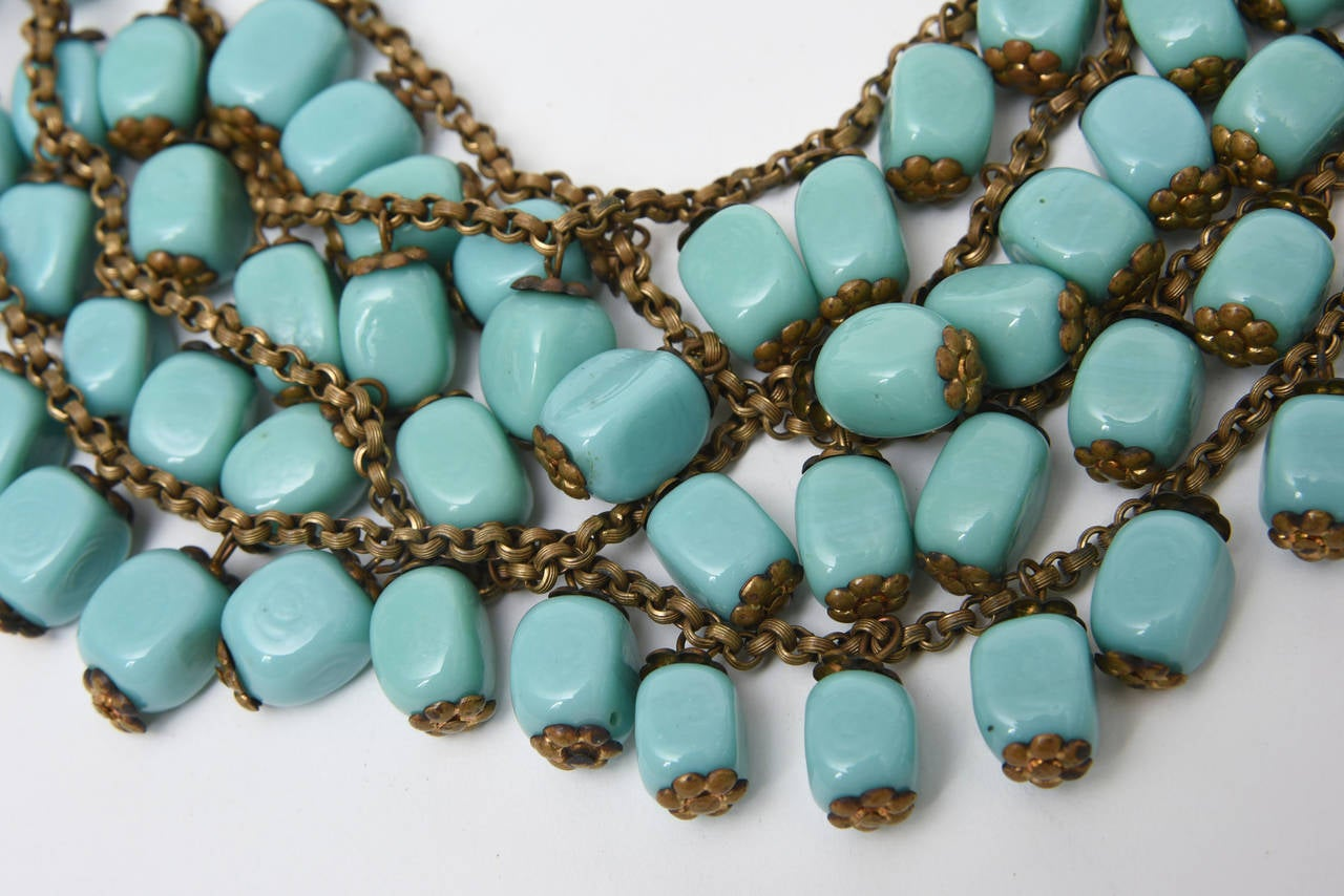Egyptian Revival Miriam Haskell Turquoise Glass Bead and Metal Bib Necklace Vintage For Sale