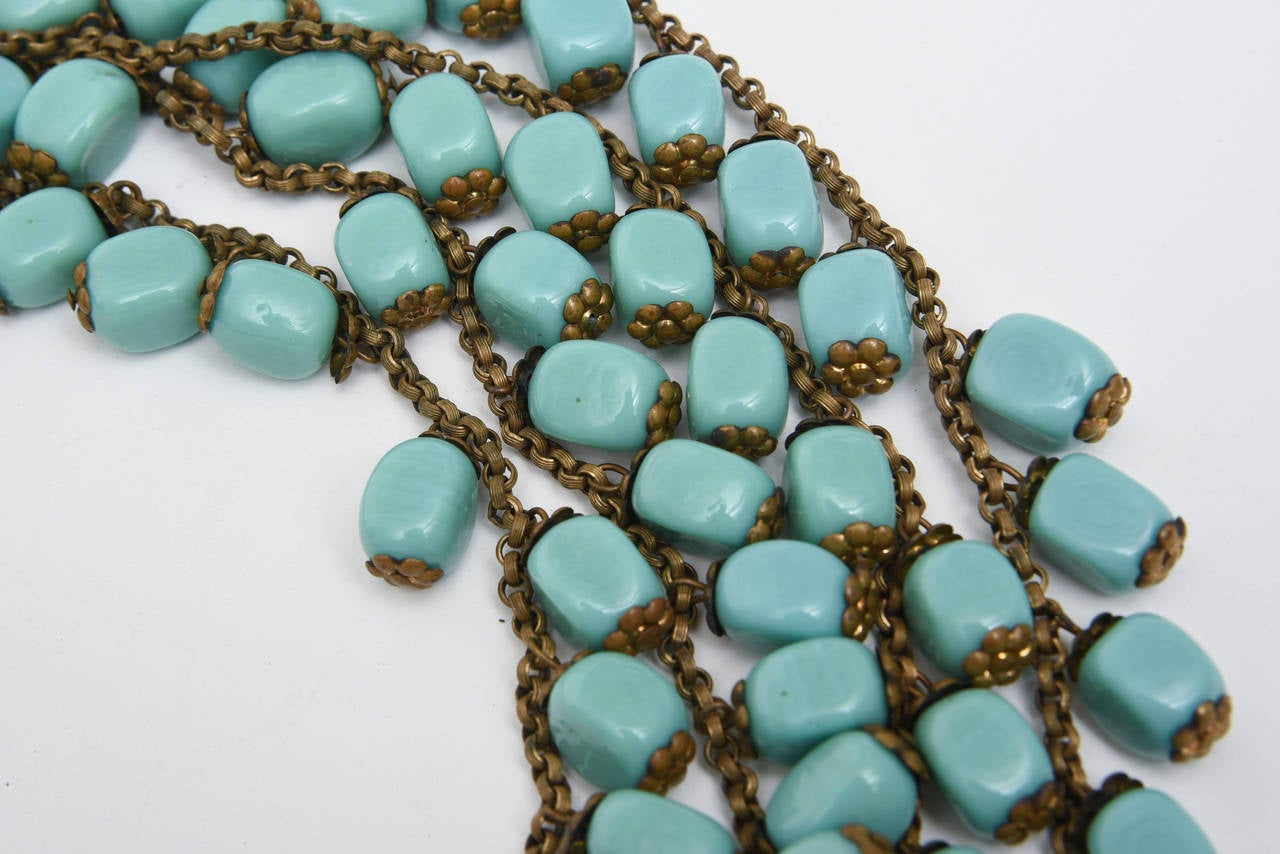 Miriam Haskell Turquoise Glass Bead and Metal Bib Necklace Vintage In Good Condition For Sale In North Miami, FL