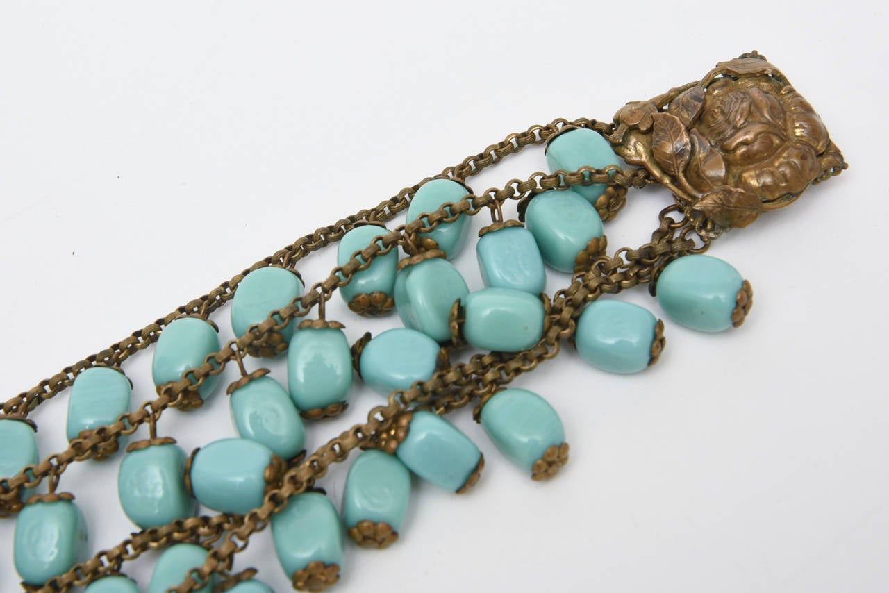 Women's Miriam Haskell Turquoise Glass Bead and Metal Bib Necklace Vintage For Sale
