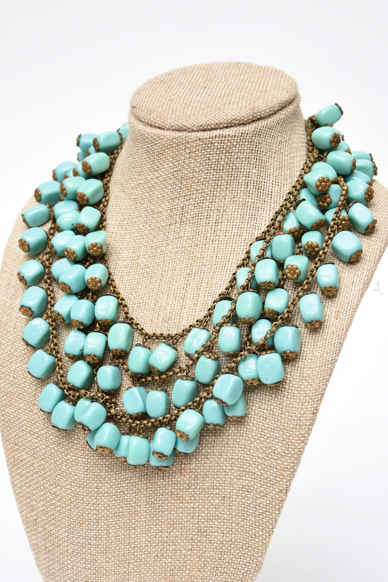 Miriam Haskell Turquoise Glass Bead and Metal Bib Necklace Vintage For Sale 2