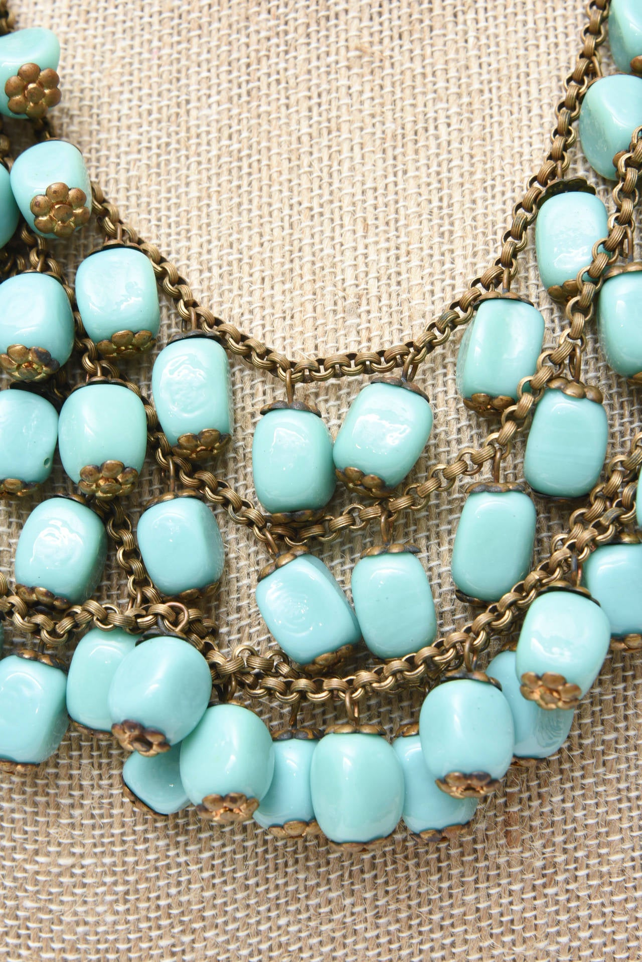 Miriam Haskell Turquoise Glass Bead and Metal Bib Necklace Vintage For Sale 3