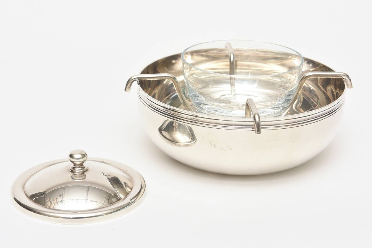 christofle silver plate caviar bowl with mother of pearl serving spoon at 1stdibs. Black Bedroom Furniture Sets. Home Design Ideas
