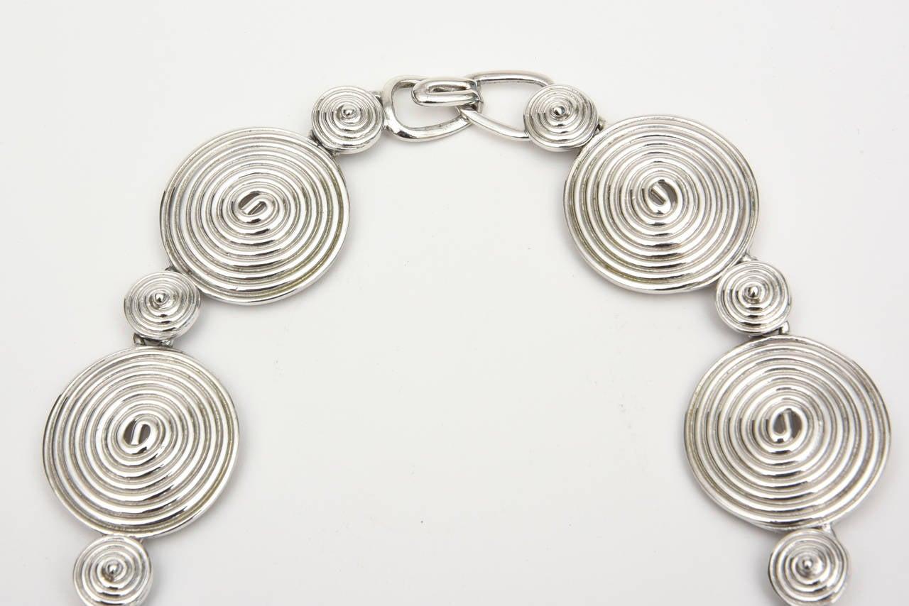 Modern Signed Alexis Kirk Sculptural Disk Necklace For Sale