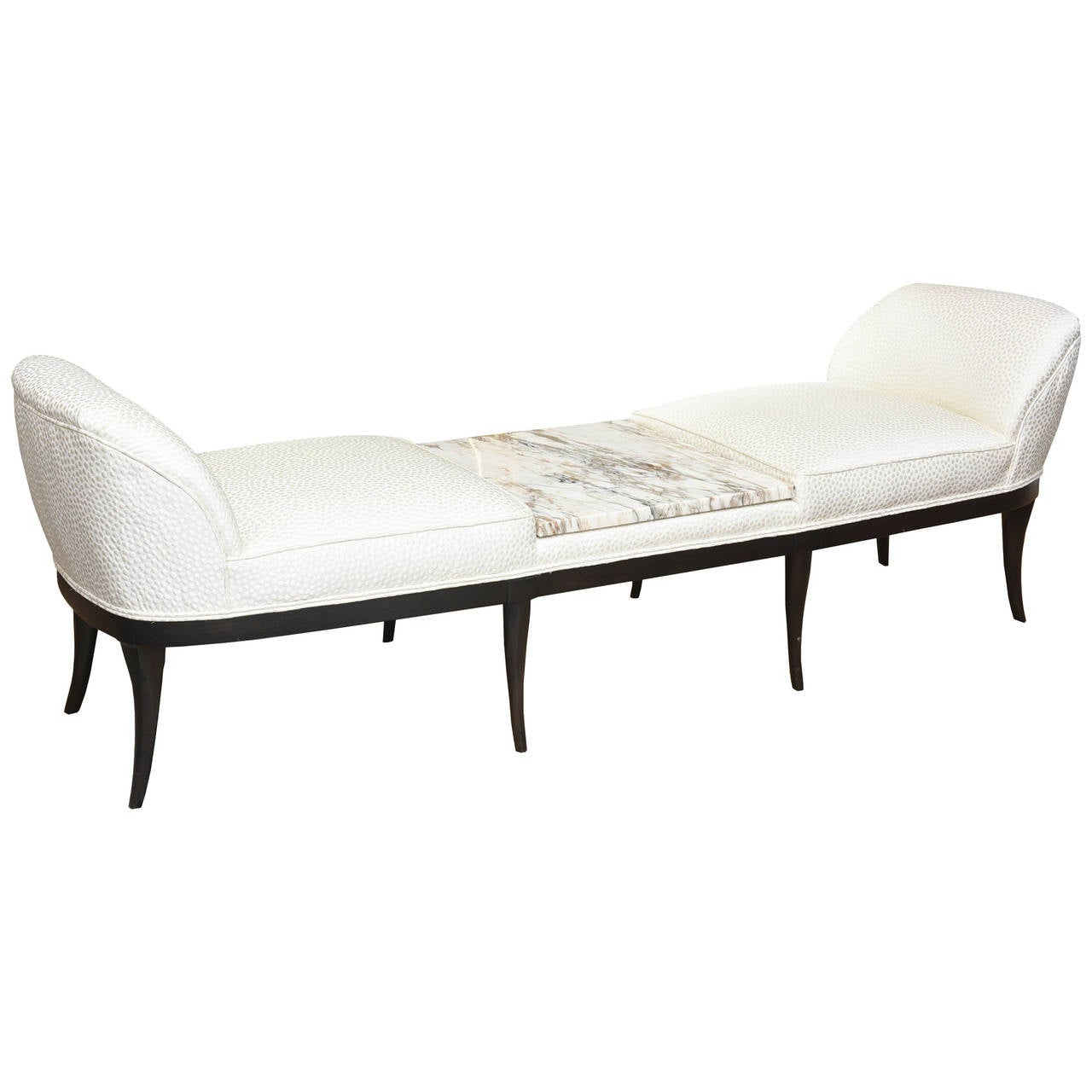 Ebonized Wood Italian Marble And Upholstered Bench Settee Chaise Or Recamier For Sale At 1stdibs