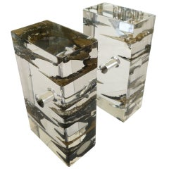 Lucite and Astrolite Pair of  Sculptural Bookends