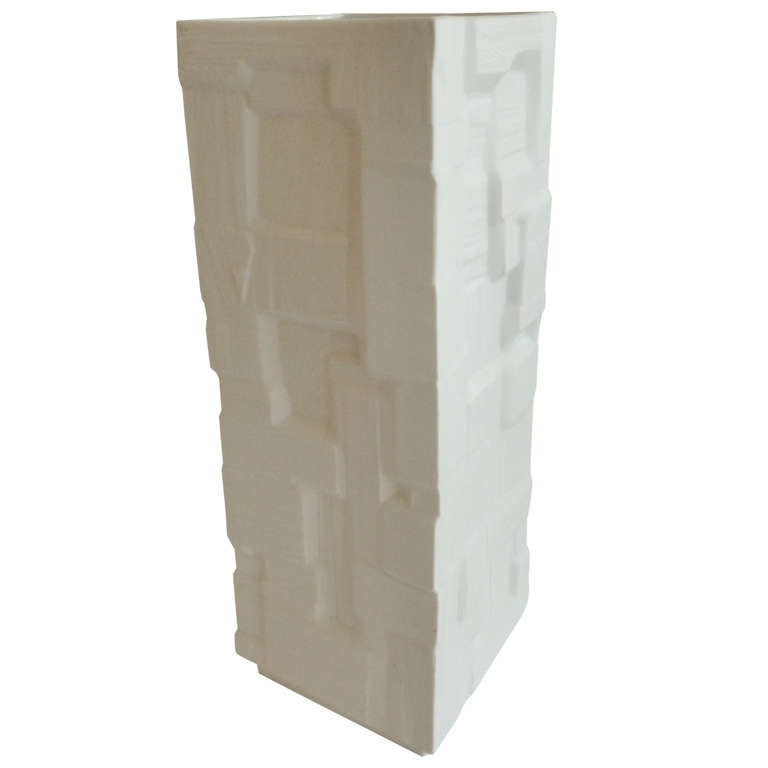 Monumental Sculptural White Porcelain Signed Vase/Vessel