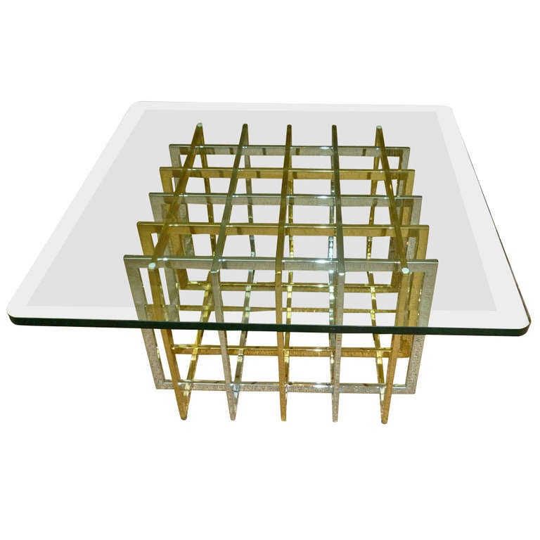 Pierre Cardin Sculptural Grid Mixed Metals/Glass Side Table 1