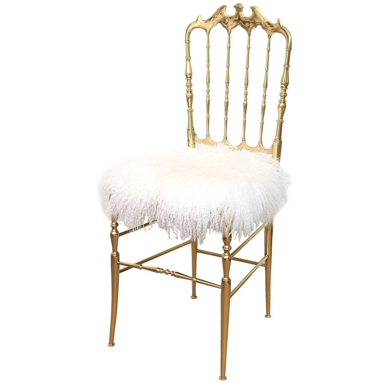 Italian Polished Brass Chiavari Side Chair With Mongolian