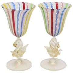 Pair of Early Venetian Glass Multicolored Latticino and Gold Aventurine Goblets