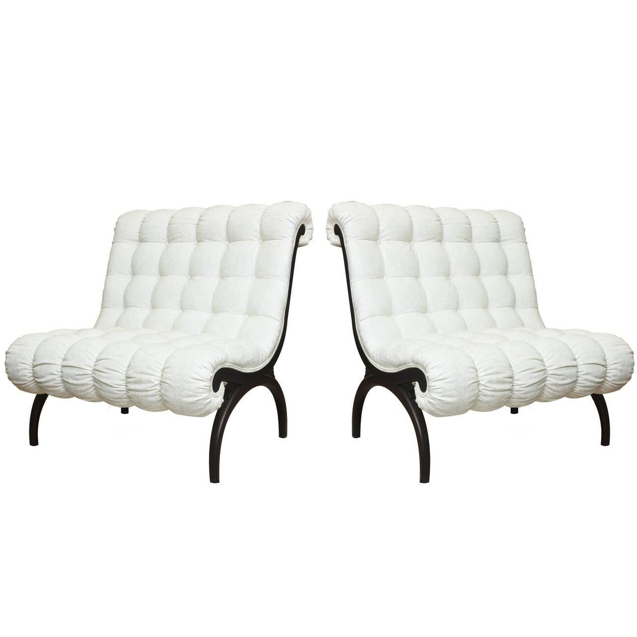 Pair of Grosfeld House Regency Vintage Sculptural Lounge Chairs/ Settees