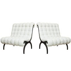 Pair of  Grosfeld House Tufted Sculptural Lounge Chairs/ Settees
