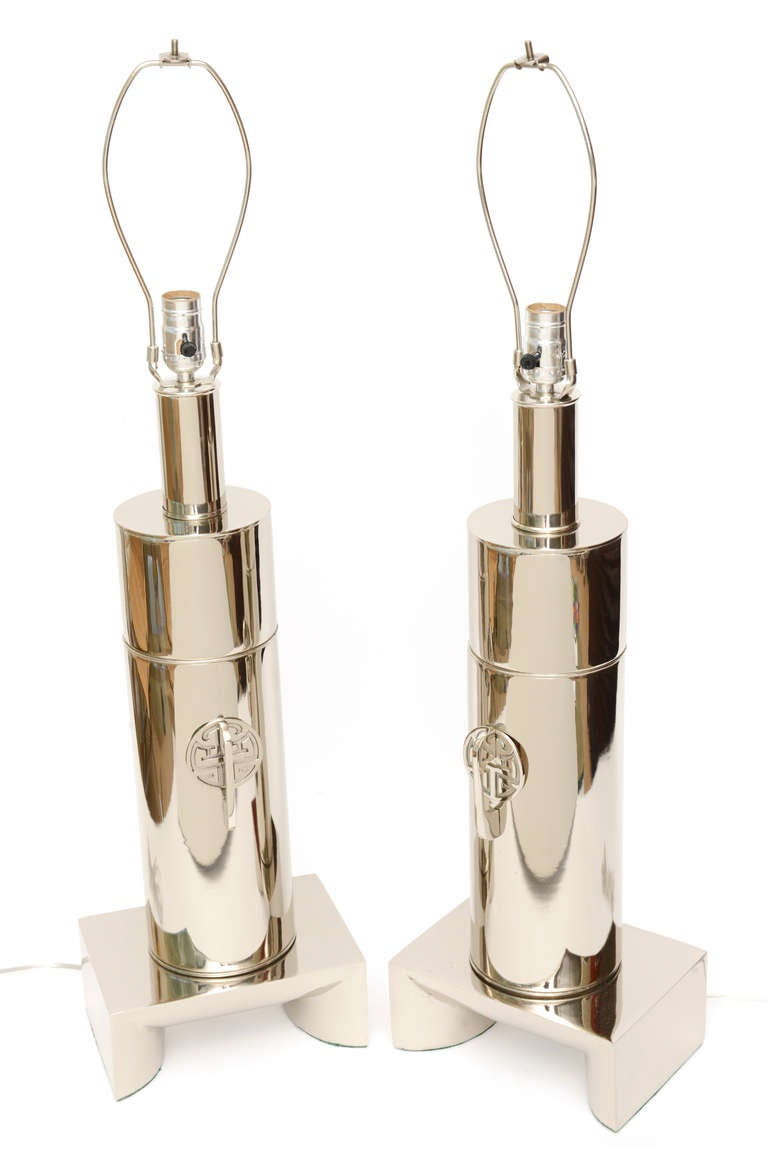 Pair of James Mont Style Modernist Nickel Silver Lamps 3