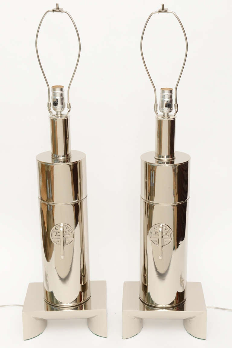 Pair of James Mont Style Modernist Nickel Silver Lamps 2