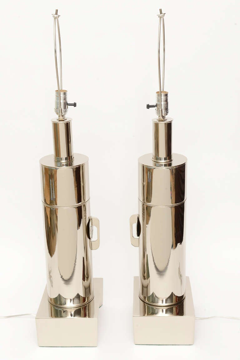 Pair of James Mont Style Modernist Nickel Silver Lamps 5