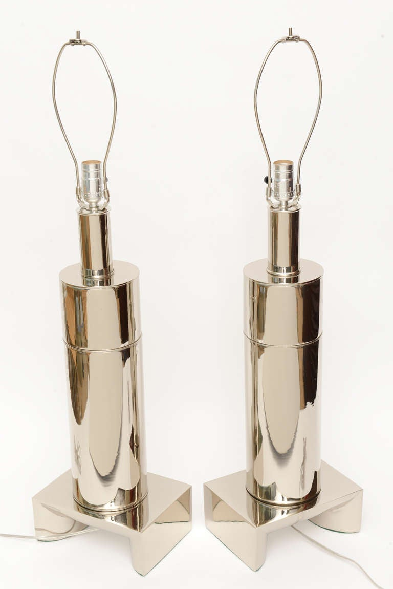Pair of James Mont Style Modernist Nickel Silver Lamps 4