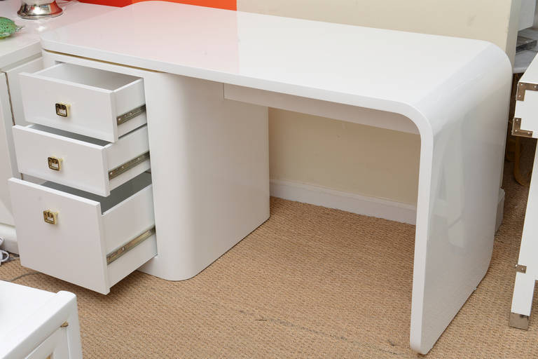 Modern White Lacquered And Br Hardware Waterfall Desk Or Vanity For