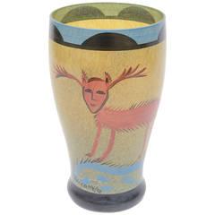 Ulrica Hydman Vallien for Kosta Boda Primitive Painted Glass Vase