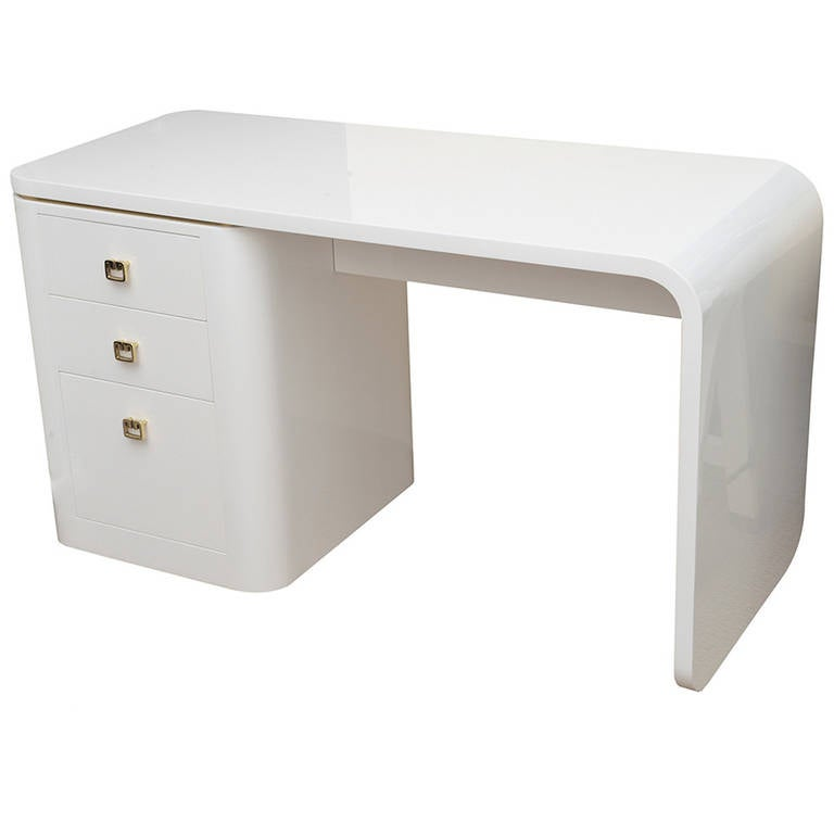 White Lacquered And Br Hardware Waterfall Desk Or Vanity 1