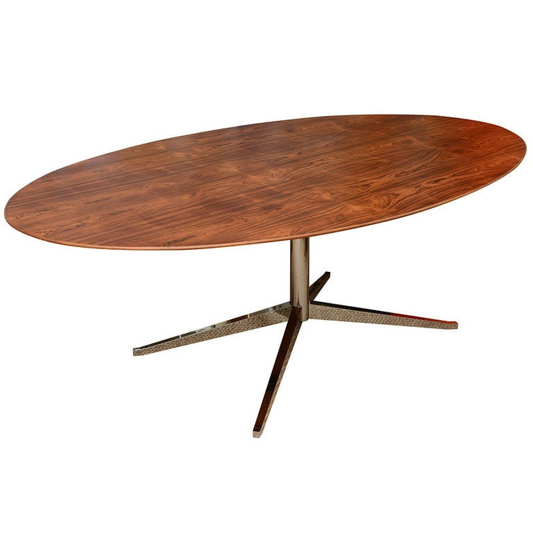 Florence Knoll Rosewood And Chromed Steel Oval Dining