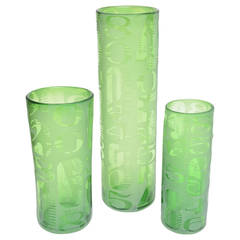 Trio of Three Graduated Frosted and Etched Numbered Glass Vases