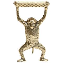 "Polished Vintage ""Strong Man"" Brass Monkey Card Holder or Soap Dish"