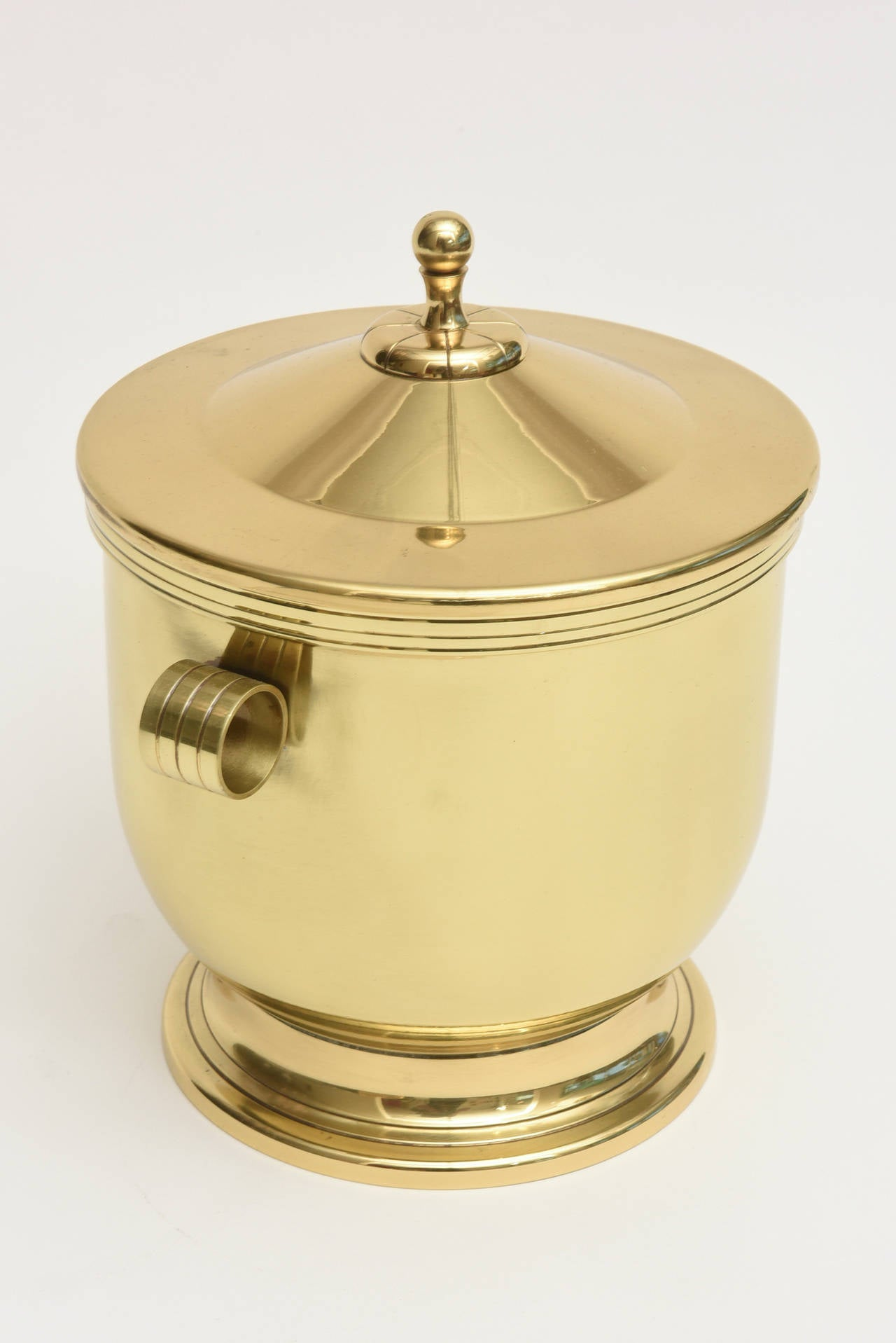American Classic Tommi Parzinger Polished Brass Ice Covered Ice Bucket For Sale