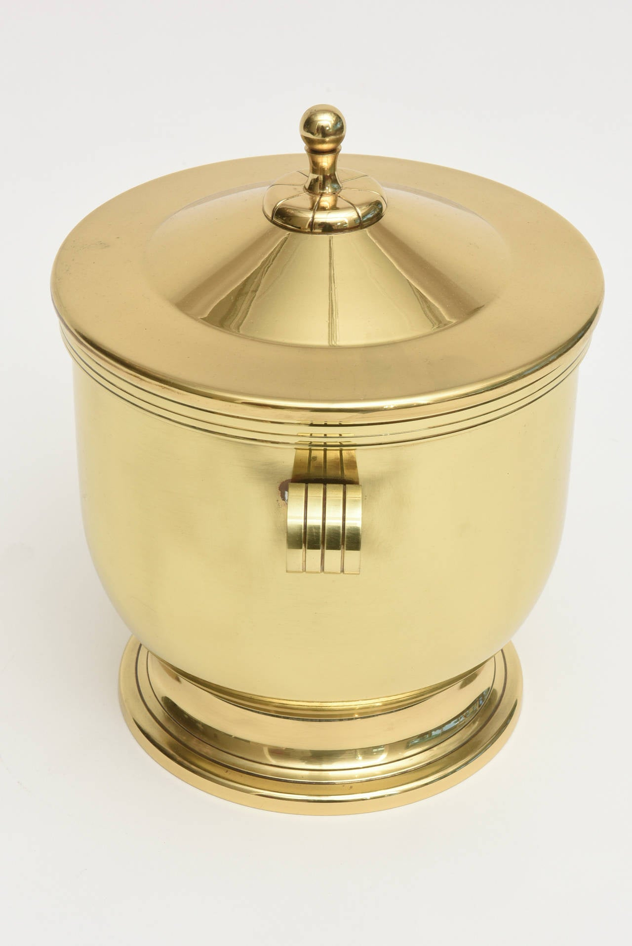 Classic Tommi Parzinger Polished Brass Ice Covered Ice Bucket For Sale 2