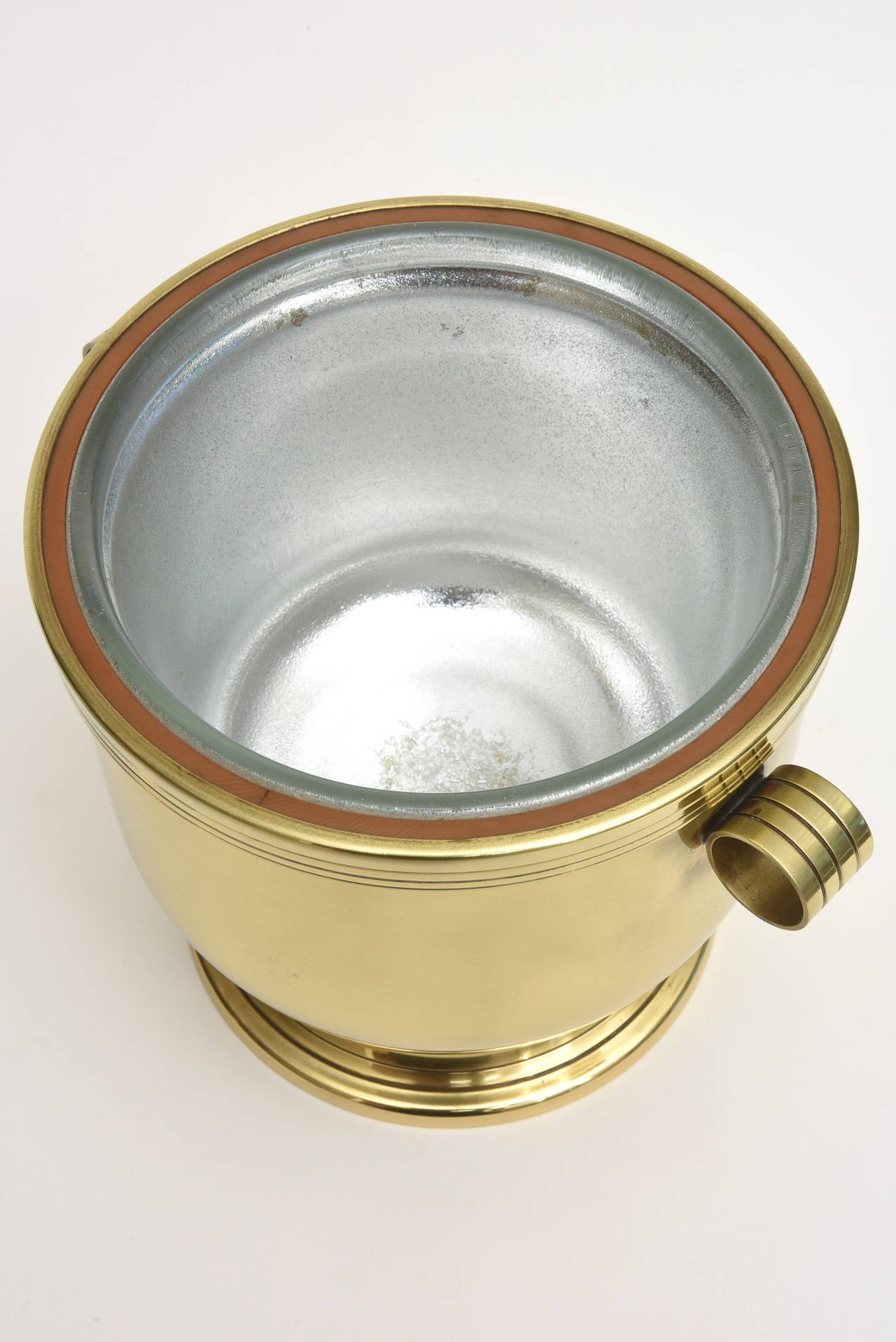 Classic Tommi Parzinger Polished Brass Ice Covered Ice Bucket For Sale 3