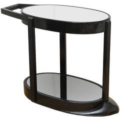 Ebonized Art Deco Streamlined Sculptural Two-Tier Bar Cart or Trolley