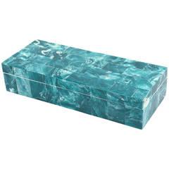 Elongated Malachite Hinged Tile Box with White Interior