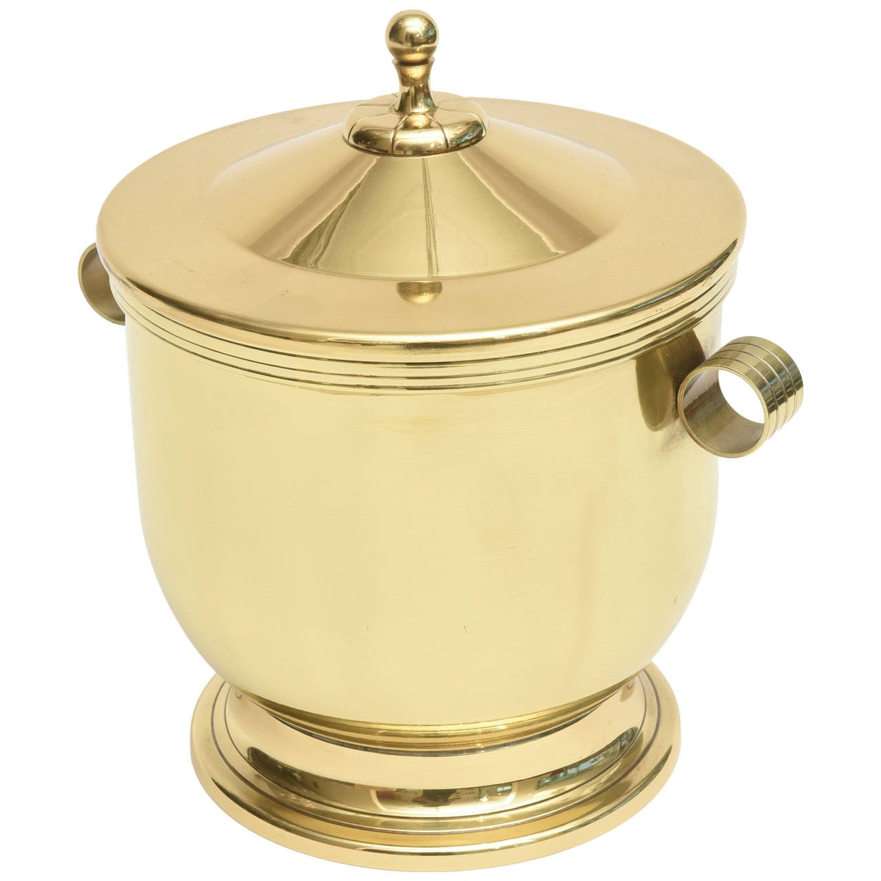 Classic Tommi Parzinger Polished Brass Ice Covered Ice Bucket For Sale