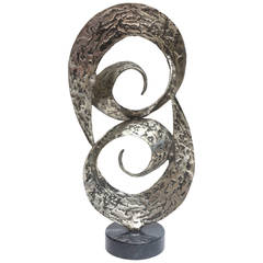 Dual Spiral Black Washed Hand Hammered Aluminum and Marble Sculpture