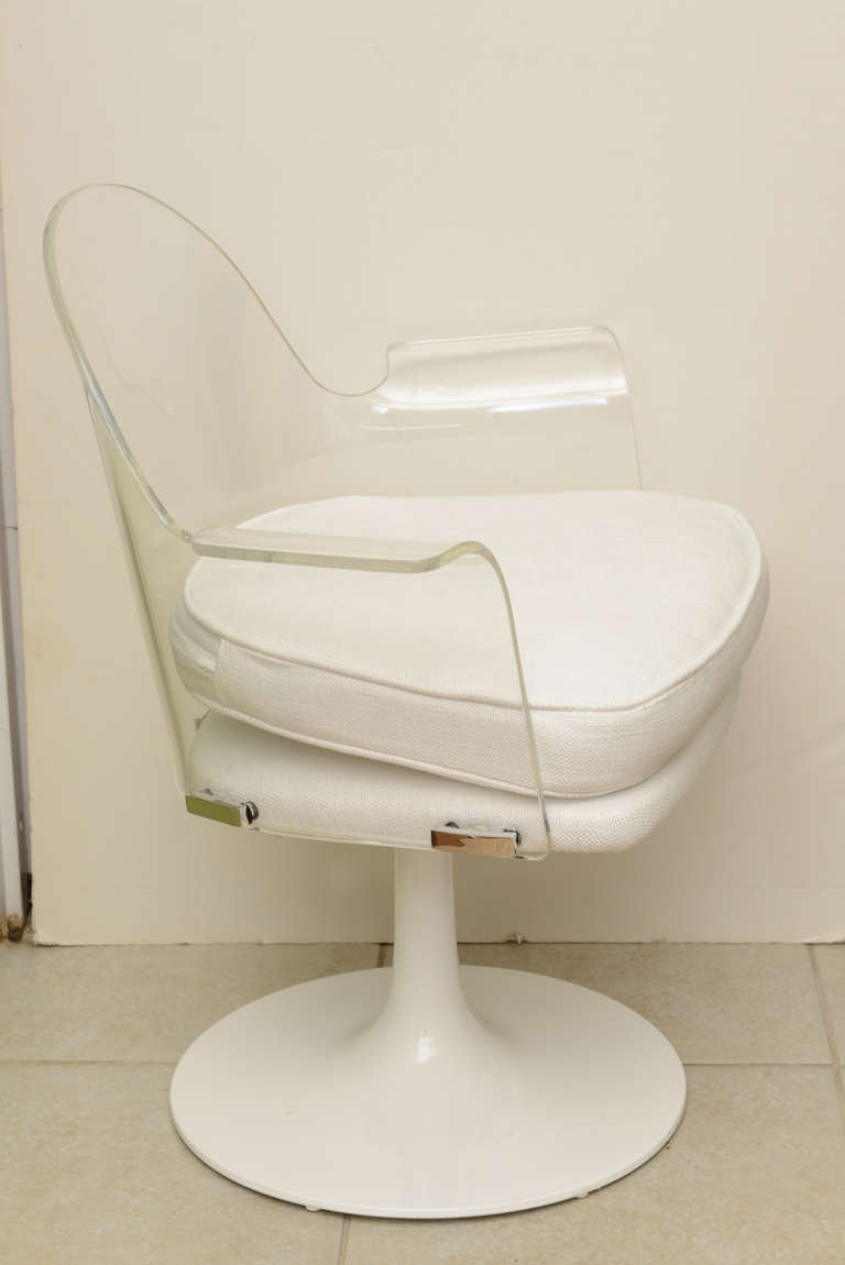 Lucite chrome vladimir kagan swivel desk vanity chair at 1stdibs - Acrylic vanity chair ...