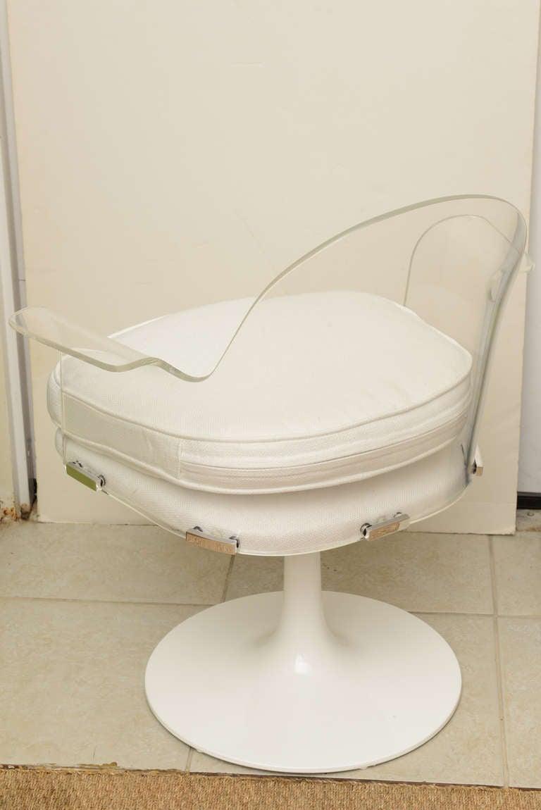 Lucite/Chrome Vladimir Kagan Swivel Desk/Vanity Chair at ...