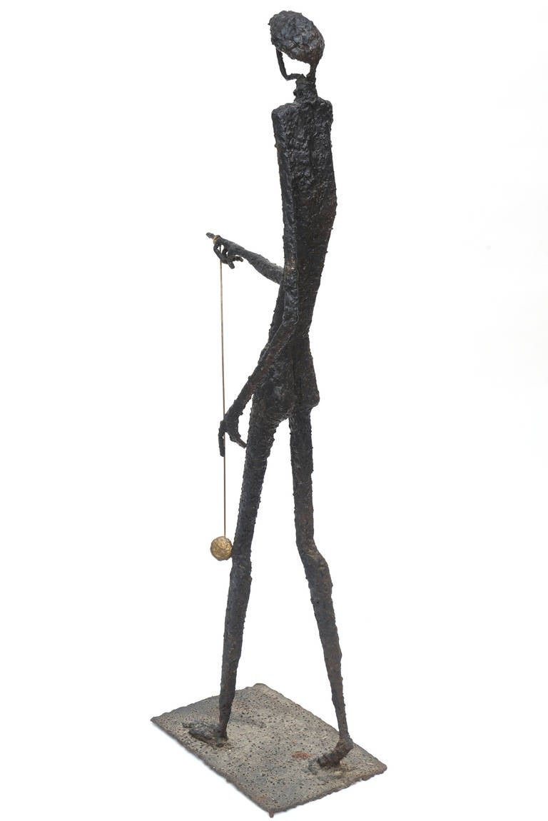 Giacometti Style Molten Bronze Standing Tall Sculpture At 1stdibs