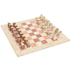 Travertine and Brass Modernist Chess Set Italian