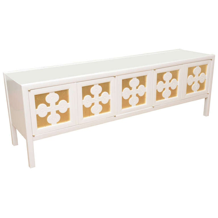 White Lacquered and Gold Leaf Low Long Console or Cabinet For Sale ...