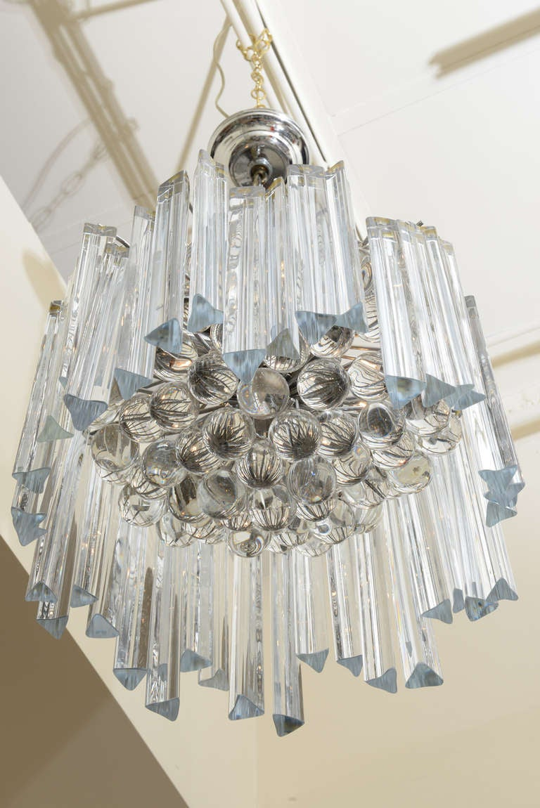 Italian venini prism and glass ball chandelier at 1stdibs varying heights of prismatic clear glass crystal pendants hang in zig zag pattern around the diameter aloadofball Image collections