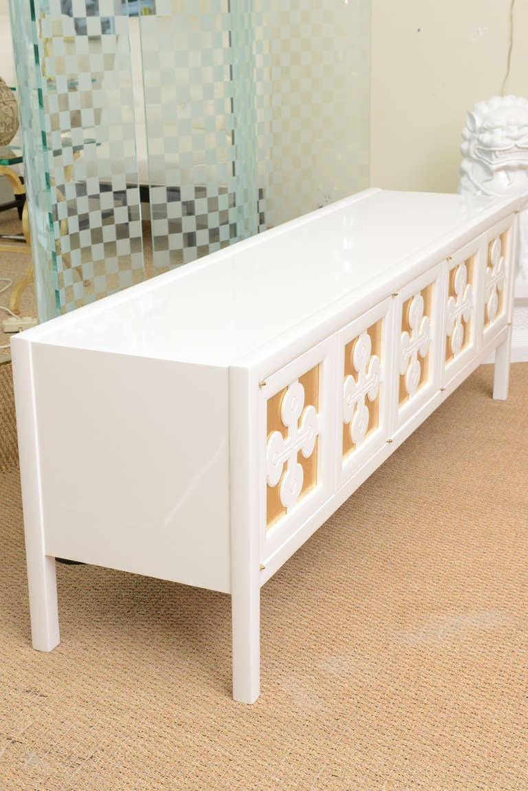 storage console cabinet white lacquered and gold leaf low console or cabinet 26867