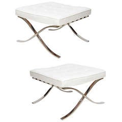 Pair of Knoll Mies Van der Rohe Stainless Steel/Leather Barcelona Benches