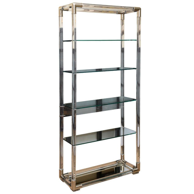 charles hollis jones lucite and nickel silver tall shelf. Black Bedroom Furniture Sets. Home Design Ideas