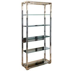 Charles Hollis Jones Lucite and Nickel Silver Tall Shelf/Etagere