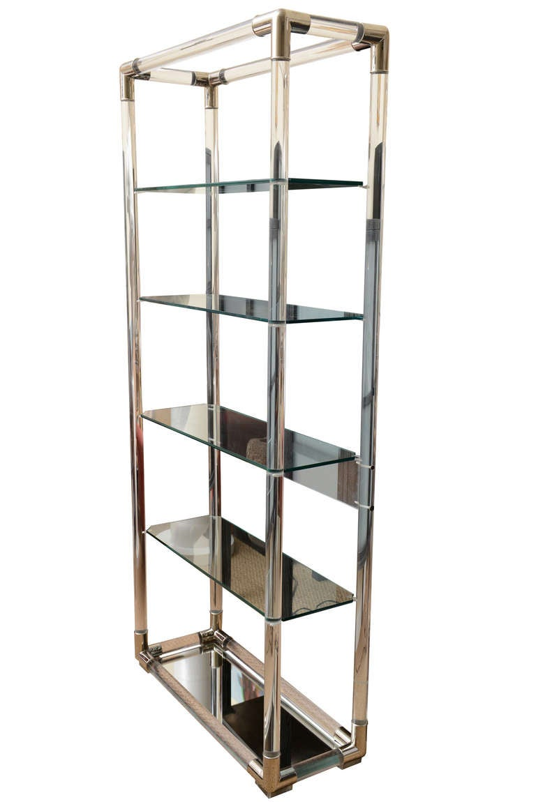 Charles Hollis Jones Lucite And Nickel Silver Tall Shelf